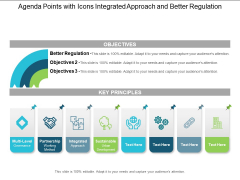 Agenda Points With Icons Integrated Approach And Better Regulation Ppt PowerPoint Presentation Layouts Example Topics