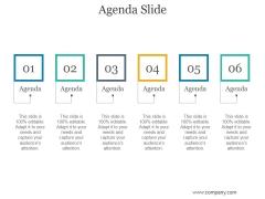 Agenda Slide Ppt PowerPoint Presentation Template