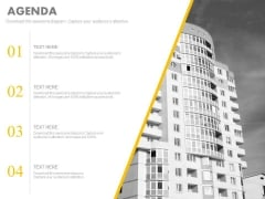 Agenda Slide With Corporate Building Design Powerpoint Slides
