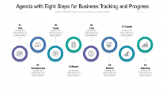 Agenda With Eight Steps For Business Tracking And Progress Ppt Visual Aids Show PDF