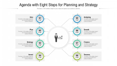 Agenda With Eight Steps For Planning And Strategy Ppt Show Rules PDF
