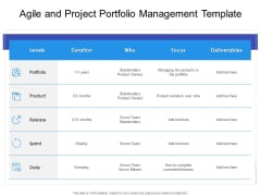 Agile And Project Portfolio Management Template Ppt PowerPoint Presentation Layouts Graphics Download PDF