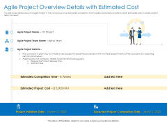 Agile Best Practices For Effective Team Agile Project Overview Details With Estimated Cost Slides PDF