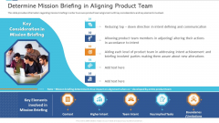 Agile Certificate Coaching Company Determine Mission Briefing In Aligning Product Team Mockup PDF