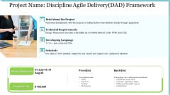 Agile Delivery Methodology For IT Project Project Name Discipline Agile Delivery DAD Framework Microsoft PDF