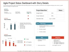 Agile Model Improve Task Team Performance Agile Project Status Dashboard With Story Details Template PDF