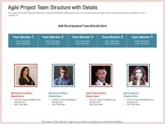 Agile Model Improve Task Team Performance Agile Project Team Structure With Details Icons PDF