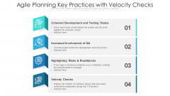 Agile Planning Key Practices With Velocity Checks Ppt PowerPoint Presentation Outline Picture PDF