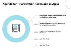 Agile Prioritization Methodology Agenda For Prioritization Technique In Agile Elements PDF