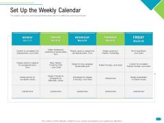 Agile Process Implementation For Marketing Program Set Up The Weekly Calendar Microsoft PDF