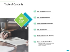 Agile Process Implementation For Marketing Program Table Of Contents Ppt Styles Graphics PDF