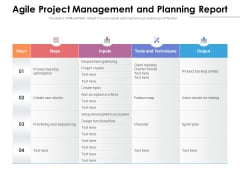 Agile Project Management And Planning Report Ppt PowerPoint Presentation Outline Visual Aids PDF