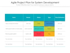 Agile Project Plan For System Development Ppt PowerPoint Presentation Outline Themes PDF
