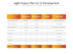 Agile Project Plan For Ui Development Ppt PowerPoint Presentation Topics PDF