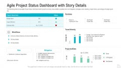 Agile Project Status Dashboard With Story Details Introduction PDF