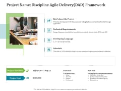 Agile Service Delivery Model Project Name Discipline Agile Delivery Dad Framework Elements PDF