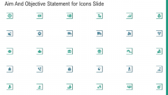 Aim And Objective Statement For Icons Slide Ppt Outline Microsoft PDF