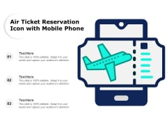 Air Ticket Reservation Icon With Mobile Phone Ppt PowerPoint Presentation Icon Examples PDF