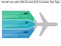 Aircraft Icon With USA UK And AUS Countries Text Tags Ppt PowerPoint Presentation Gallery Infographics PDF