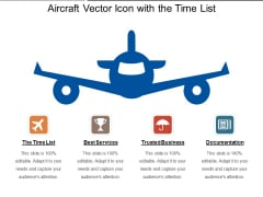 Aircraft Vector Icon With The Time List Ppt PowerPoint Presentation File Portrait PDF