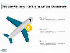 Airplane With Dollar Coin For Travel And Expense Icon Ppt PowerPoint Presentation File Graphics Download PDF