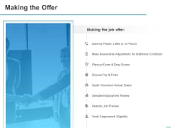 All About HRM Making The Offer Ppt Infographics Summary PDF