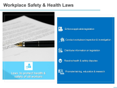 All About HRM Workplace Safety And Health Laws Ppt Infographic Template Design Templates PDF