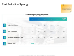 Alliance Evaluation Cost Reduction Synergy Ppt Show Background PDF