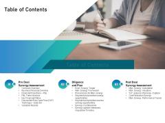 Alliance Evaluation Table Of Contents Ppt File Slide Portrait PDF