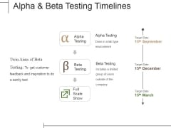 Alpha And Beta Testing Timelines Ppt PowerPoint Presentation Gallery Ideas