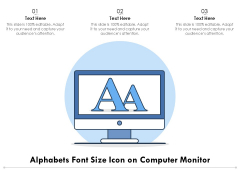 Alphabets Font Size Icon On Computer Monitor Ppt PowerPoint Presentation Slides Influencers PDF