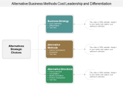 Alternative Business Methods Cost Leadership And Differentiation Ppt Powerpoint Presentation Layouts Samples
