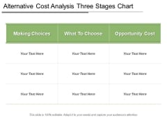 Alternative Cost Analysis Three Stages Chart Ppt PowerPoint Presentation Icon Graphics Download PDF