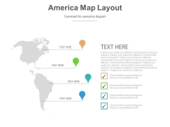 America Country Map With Locations Powerpoint Slides