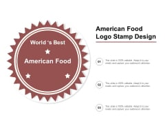 American Food Logo Stamp Design Ppt PowerPoint Presentation Summary Gallery