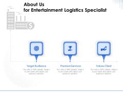 Amusement Event Coordinator About Us For Entertainment Logistics Specialist Ppt PowerPoint Presentation Infographic Template Skills PDF