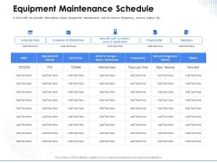 Amusement Event Coordinator Equipment Maintenance Schedule Ppt PowerPoint Presentation Outline Images PDF