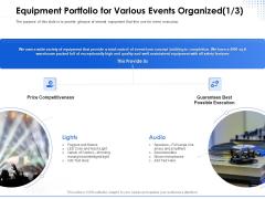 Amusement Event Coordinator Equipment Portfolio For Various Events Organized Execution Ppt Model Graphics Example PDF