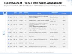 Amusement Event Coordinator Event Runsheet Venue Work Order Management Ppt PowerPoint Presentation Show Vector PDF