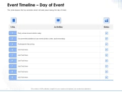 Amusement Event Coordinator Event Timeline Day Of Event Ppt PowerPoint Presentation Layouts Icon PDF