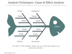 Analysis Techniques Cause And Effect Analysis Ppt PowerPoint Presentation Diagrams