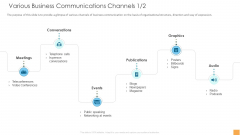 Analytical Incrementalism Various Business Communications Channels Ppt Professional Pictures PDF