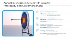 Annual Business Objectives With Business Profitability And Customer Service Ppt Professional Template PDF