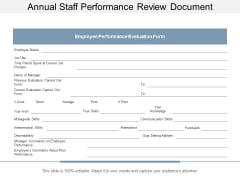 Annual Staff Performance Review Document Ppt Powerpoint Presentation Pictures Sample