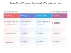 Annual Staff Progress Report With Target Objectives Ppt PowerPoint Presentation Icon Ideas PDF