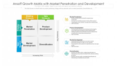 Ansoff Growth Matrix With Market Penetration And Development Ppt File Samples PDF