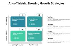 Ansoff Matrix Showing Growth Strategies Ppt PowerPoint Presentation Portfolio Example Introduction