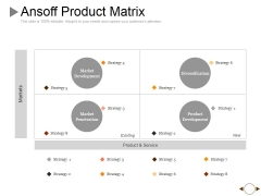 Ansoff Product Matrix Ppt PowerPoint Presentation Pictures Slide Portrait