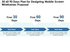App Wireframing 30 60 90 Days Plan For Designing Mobile Screen Wireframes Proposal Inspiration PDF