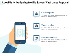 App Wireframing About Us For Designing Mobile Screen Wireframes Proposal Inspiration PDF